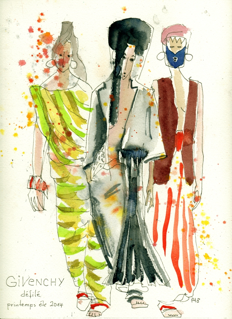 Givenchy défilé printemps été 2014 - Givenchy fashion show spring 2014 -Watercolor fashion illustration available as postcards on zazzle.com and zazzle.fr